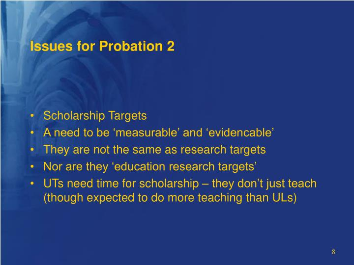 Issues for Probation 2
