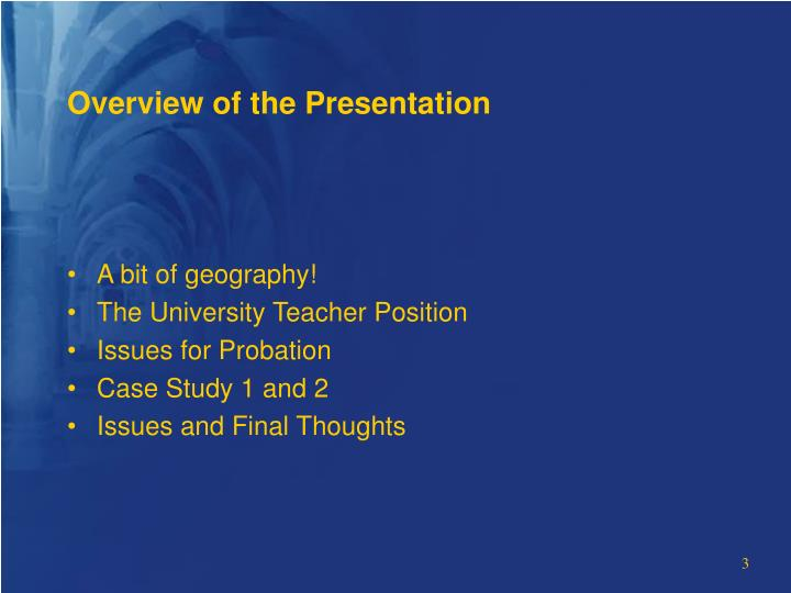 Overview of the presentation