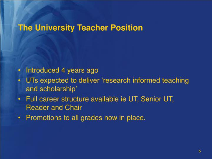 The University Teacher Position