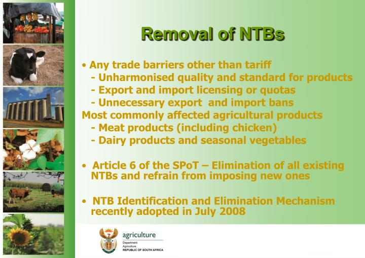 Removal of NTBs