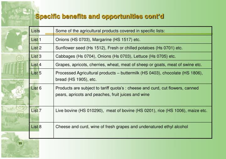 Specific benefits and opportunities cont'd