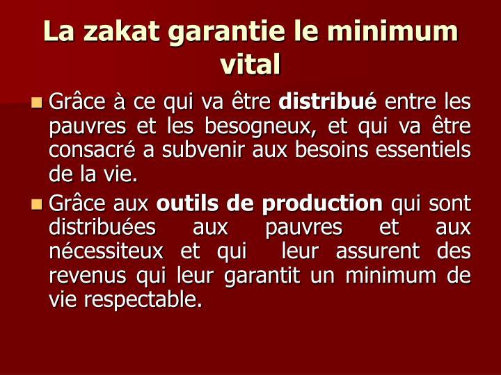 La zakat garantie le minimum vital