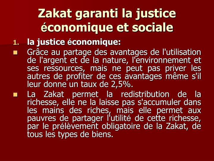 Zakat garanti la justice