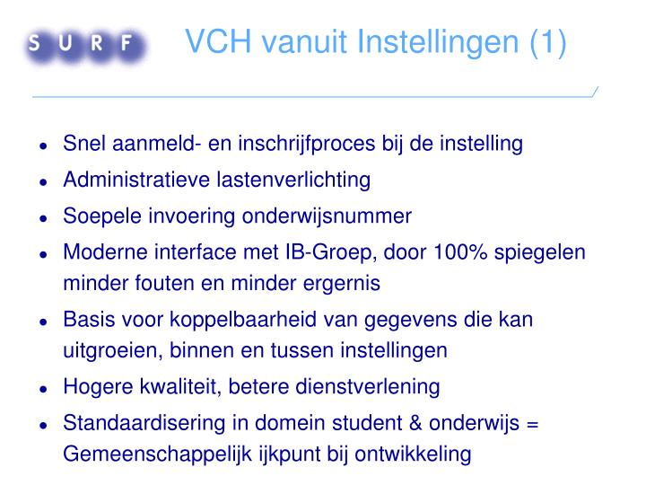 VCH vanuit Instellingen (1)