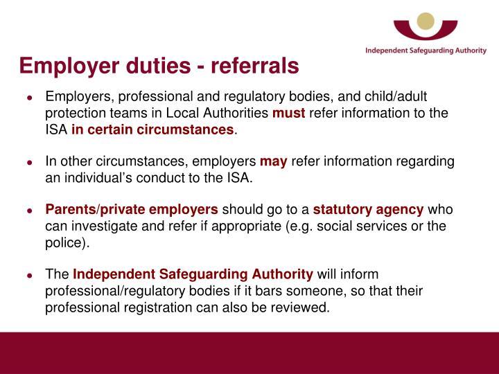 Employer duties - referrals