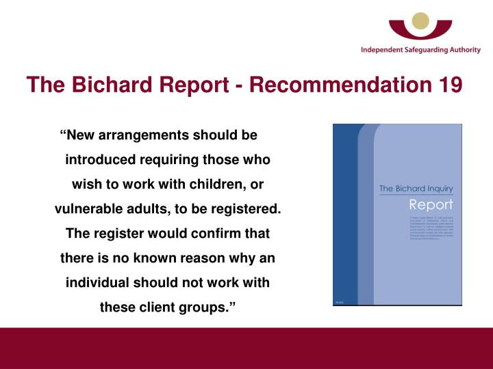 The bichard report recommendation 19