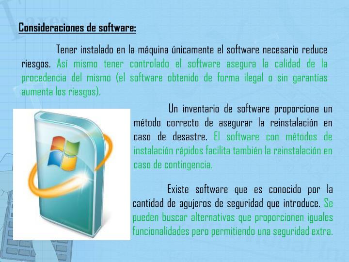 Consideraciones de software: