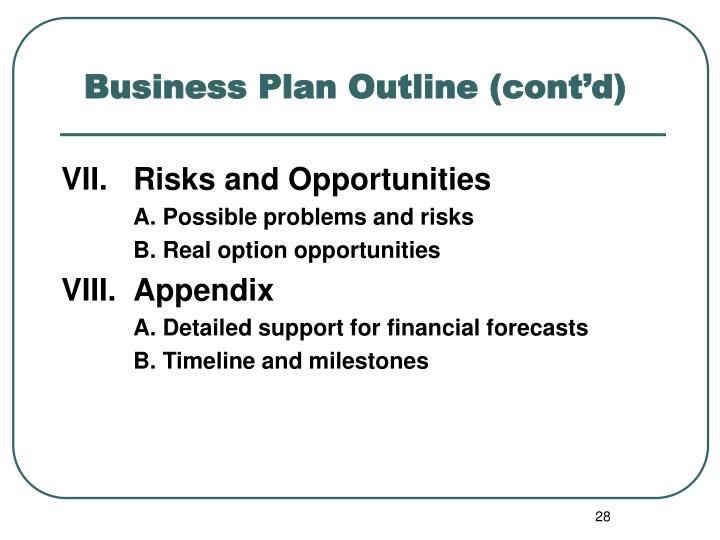 Business Plan Outline (cont'd)