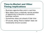 time to market and other timing implications