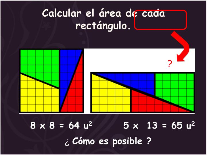 Calcular el área de cada rectángulo.