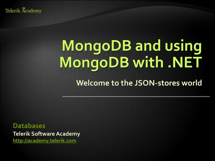 Mongodb and using mongodb with net