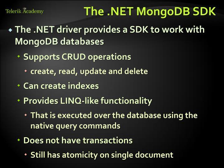 The .NET MongoDB SDK