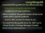 using mongodb
