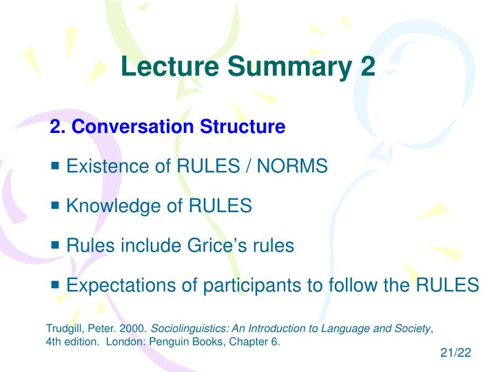 Lecture Summary 2