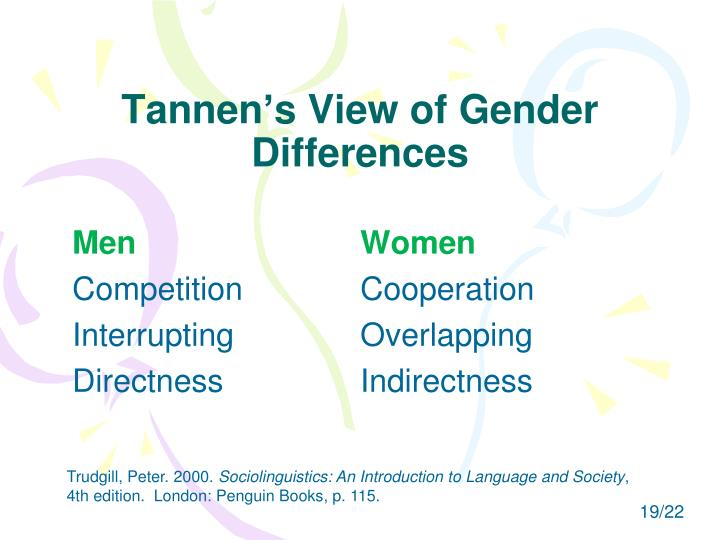 Tannen's View of Gender Differences