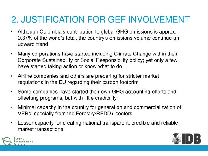 2. JUSTIFICATION FOR GEF INVOLVEMENT