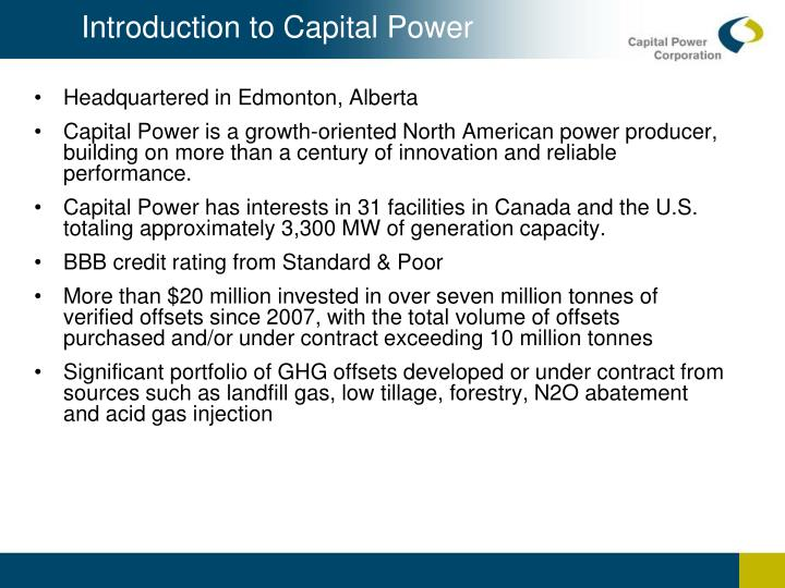 Introduction to Capital Power