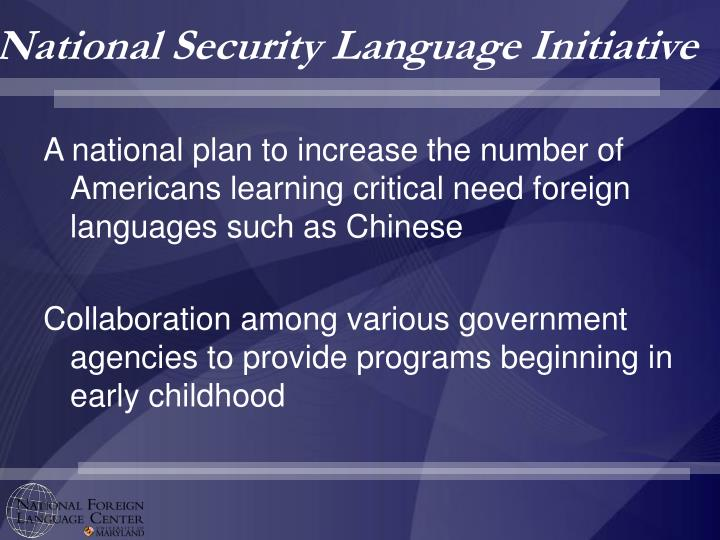 National security language initiative