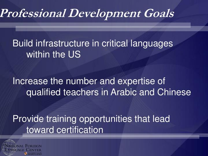 Professional Development Goals