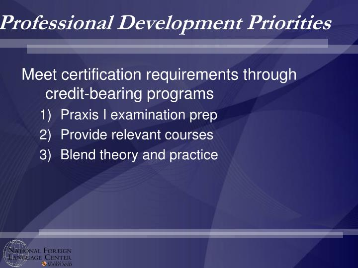 Professional Development Priorities