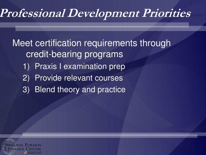 Professional Development Priorities