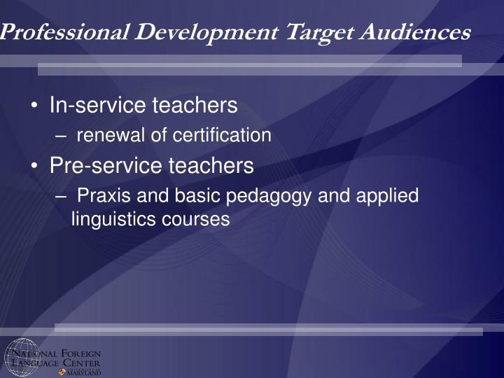Professional Development Target Audiences
