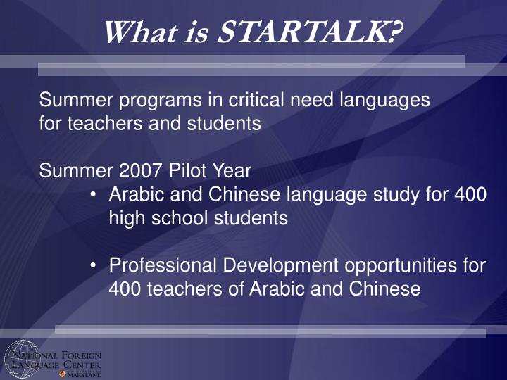 What is STARTALK?