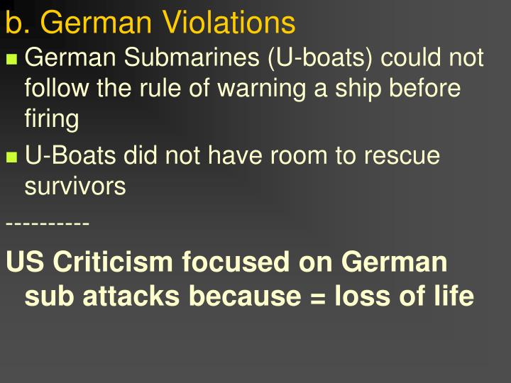 b. German Violations