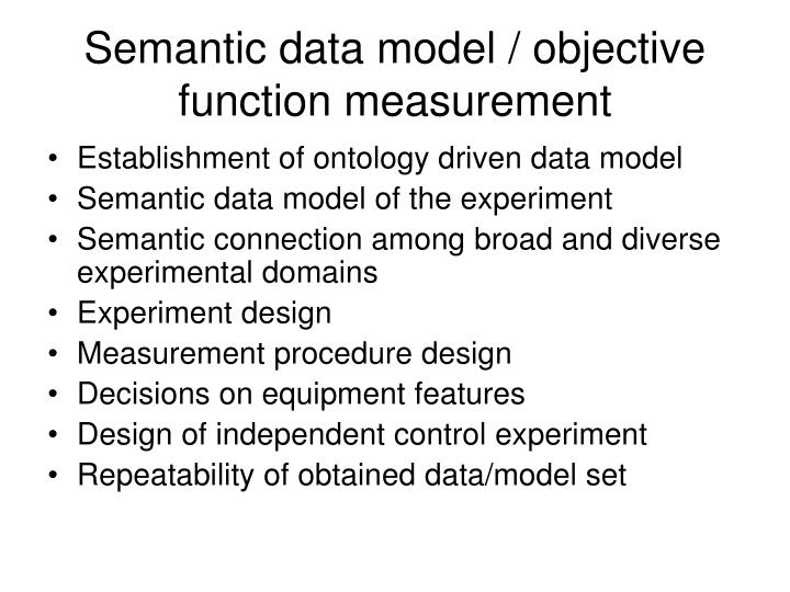 Semantic data model / objective function measurement