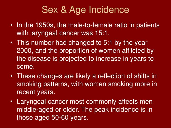 Sex & Age Incidence