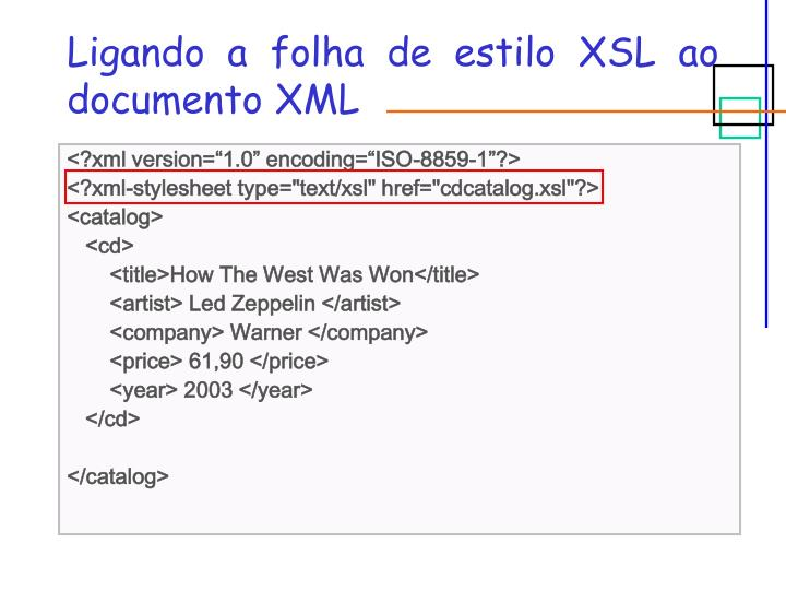 Ligando a folha de estilo XSL ao documento XML