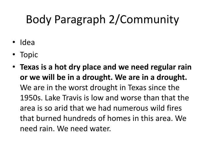 Body Paragraph 2/Community