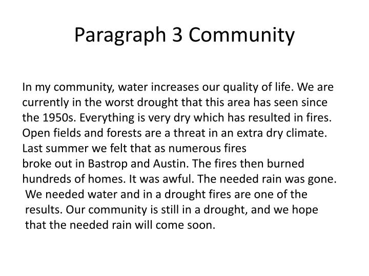 Paragraph 3 Community