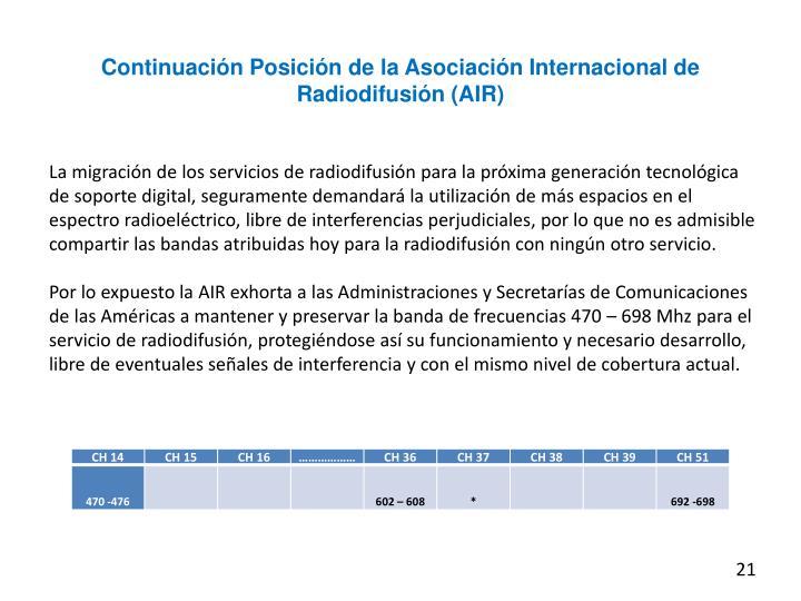 Continuación Posición de la Asociación Internacional de Radiodifusión (AIR)