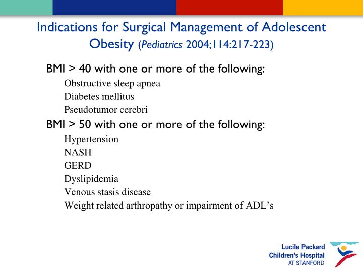 Indications for Surgical Management of Adolescent Obesity
