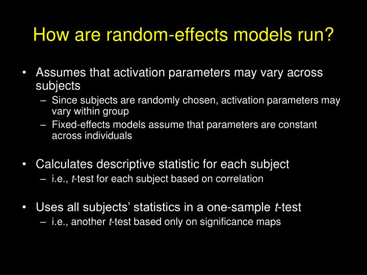 How are random-effects models run?