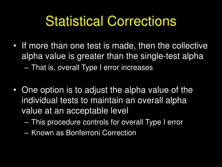 Statistical Corrections