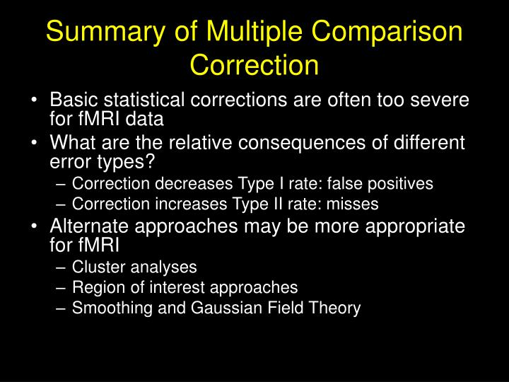 Summary of Multiple Comparison Correction
