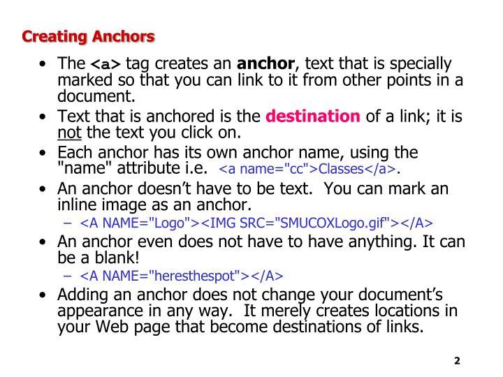 Creating Anchors