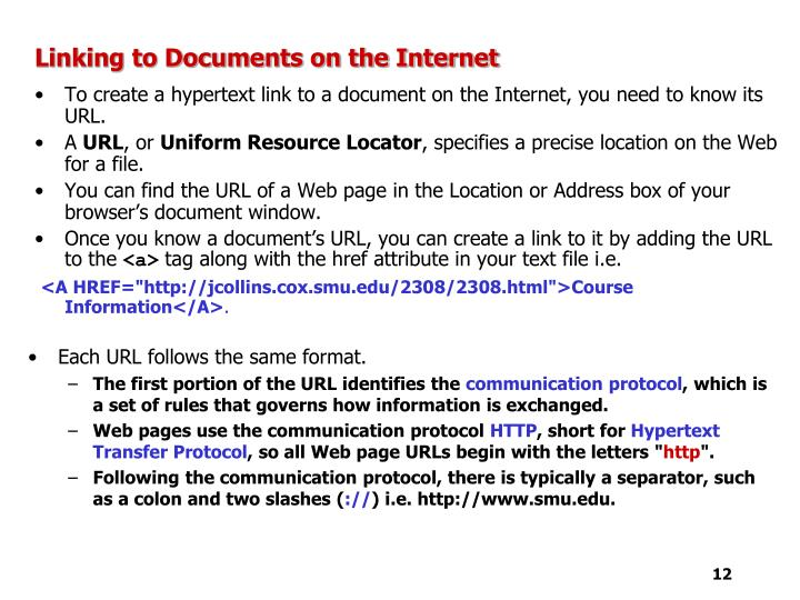 Linking to Documents on the Internet