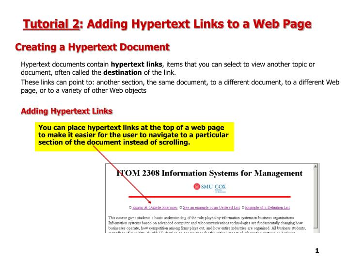 Tutorial 2 adding hypertext links to a web page