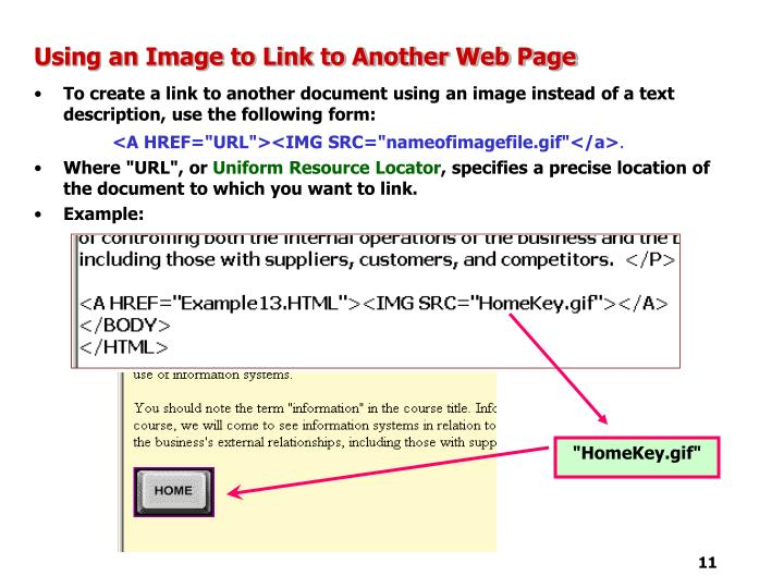 Using an Image to Link to Another Web Page
