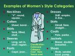 examples of women s style categories