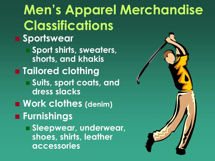 Men's Apparel Merchandise Classifications