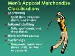 men s apparel merchandise classifications