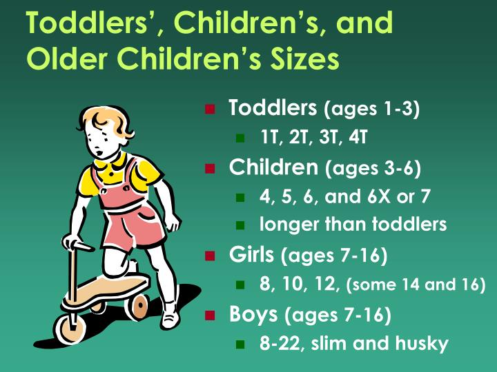 Toddlers', Children's, and Older Children's Sizes