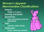 women s apparel merchandise classifications
