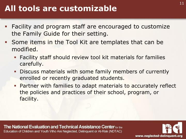 All tools are customizable