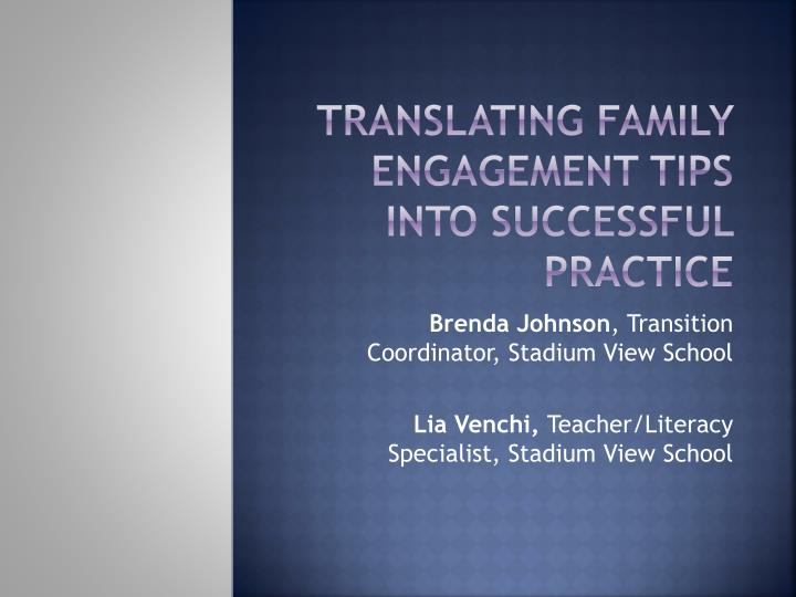 Translating Family Engagement Tips into Successful Practice