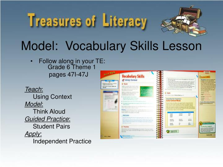 Model:  Vocabulary Skills Lesson